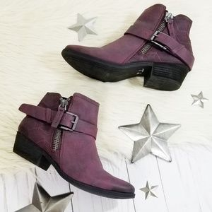 Not Rated plum purple ankle boots buckle perforate
